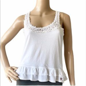 Hollister Lace Inset Tiered Racer Back Tank Top